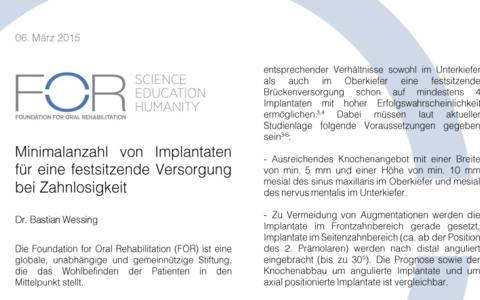 Empfehlungsschreiben zu festsitzendem Zahnersatz auf 4 Implantaten ...